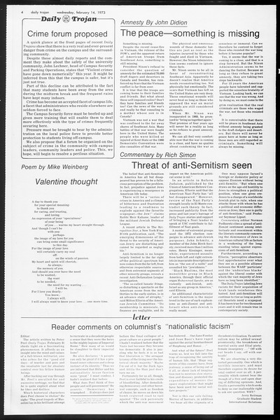 Daily Trojan, Vol. 65, No. 72, February 14, 1973