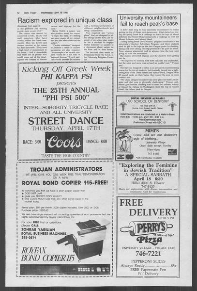 Daily Trojan, Vol. 88, No. 45, April 16, 1980