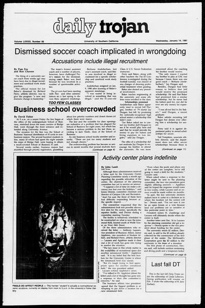 Daily Trojan, Vol. 89, No. 67, January 14, 1981