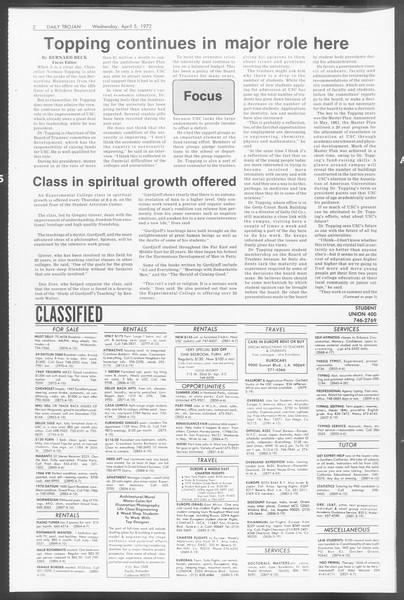Daily Trojan, Vol. 64, No. 97, April 05, 1972