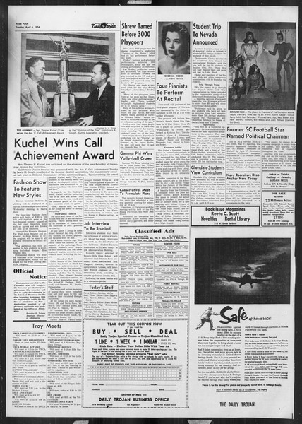 Daily Trojan, Vol. 45, No. 109, April 06, 1954