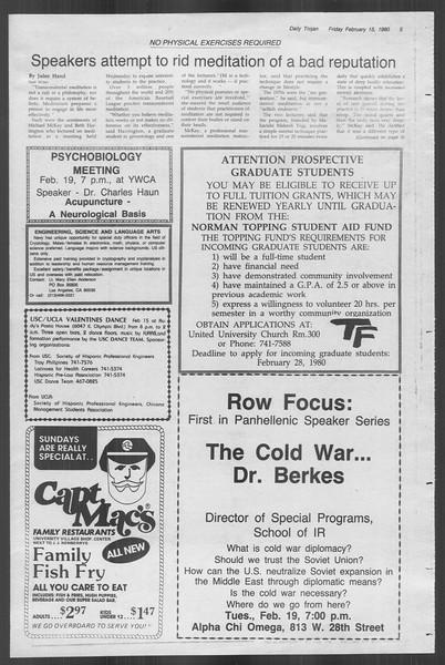 Daily Trojan, Vol. 88, No. 10, February 15, 1980