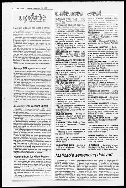 Daily Trojan, Vol. 89, No. 60, December 16, 1980