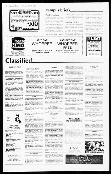 Summer Trojan, Vol. 89, No. 13, July 29, 1980