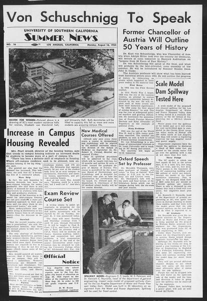 Summer News, Vol. 9, No. 16, August 16, 1954