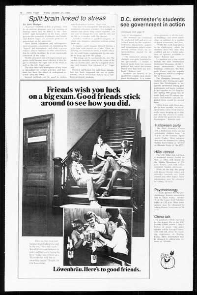 Daily Trojan, Vol. 89, No. 33, October 31, 1980