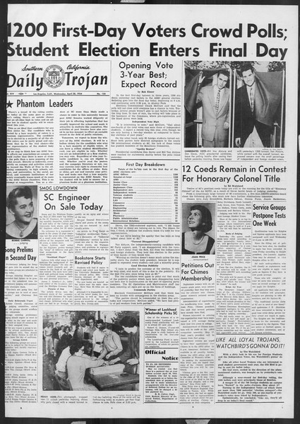 Daily Trojan, Vol. 45, No. 120, April 28, 1954