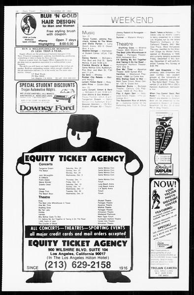 Daily Trojan, Vol. 89, No. 45, November 20, 1980