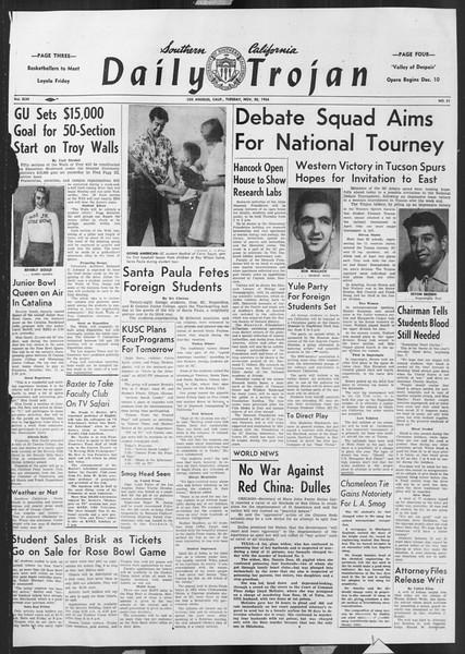 Daily Trojan, Vol. 46, No. 51, November 30, 1954