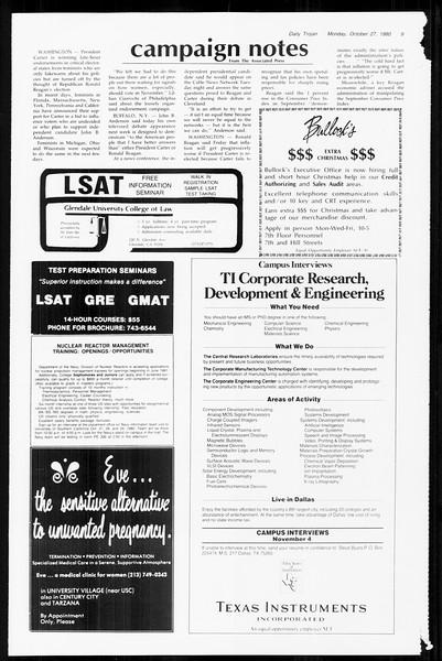 Daily Trojan, Vol. 89, No. 29, October 27, 1980