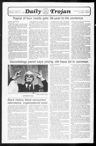 Daily Trojan, Vol. 65, No. 72, February 14, 1973