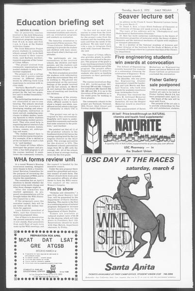 Daily Trojan, Vol. 64, No. 80, March 02, 1972