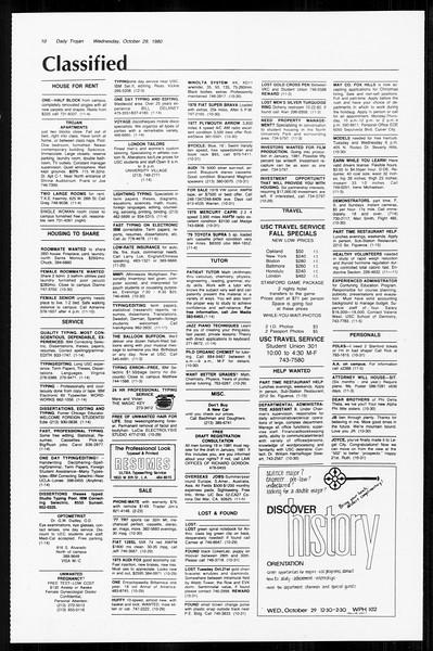 Daily Trojan, Vol. 89, No. 31, October 29, 1980