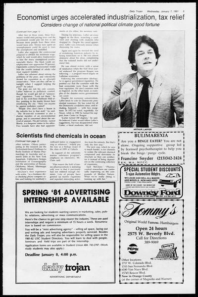 Daily Trojan, Vol. 89, No. 62, January 07, 1981