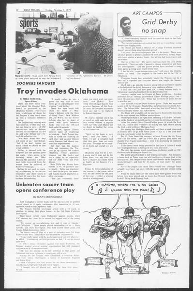 Daily Trojan, Vol. 64, No. 10, October 01, 1971