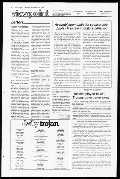 Daily Trojan, Vol. 89, No. 47, November 24, 1980