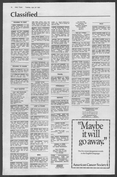 Daily Trojan, Vol. 88, No. 54, April 29, 1980