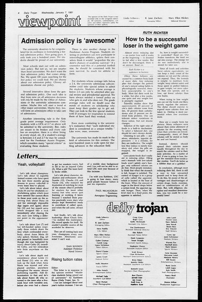 Daily Trojan, Vol. 89, No. 62, January 07, 1981