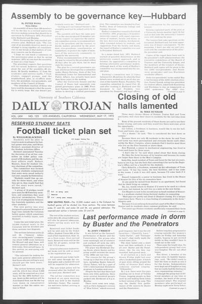 Daily Trojan, Vol. 64, No. 125, May 17, 1972