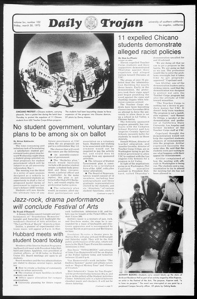 Daily Trojan, Vol. 65, No. 102, March 30, 1973