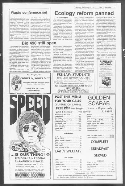 Daily Trojan, Vol. 64, No. 65, February 08, 1972