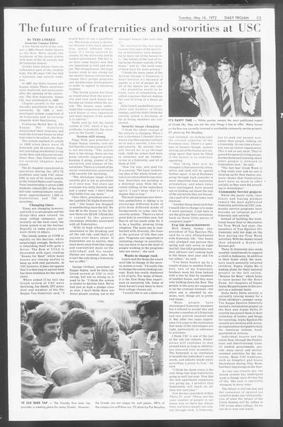 Daily Trojan, Vol. 64, No. 124, May 16, 1972