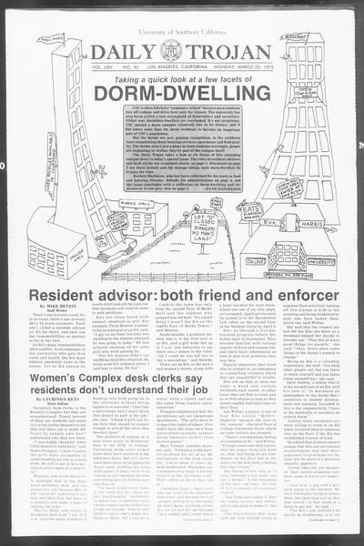 Daily Trojan, Vol. 64, No. 92, March 20, 1972