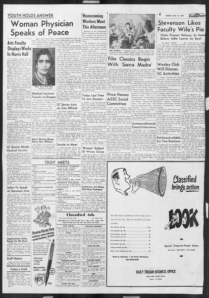 Daily Trojan, Vol. 46, No. 18, October 12, 1954