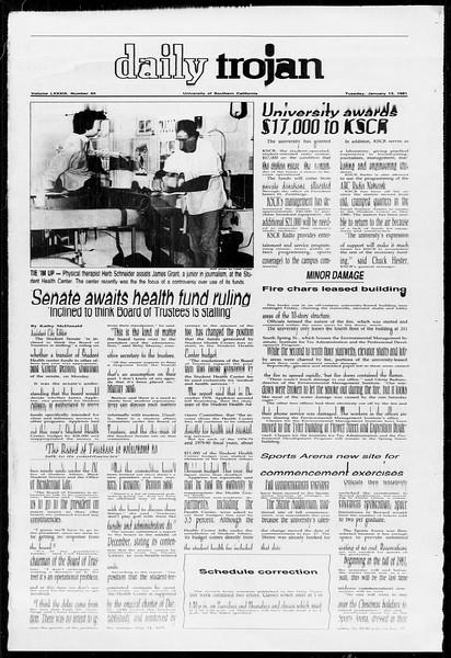 Daily Trojan, Vol. 89, No. 66, January 13, 1981