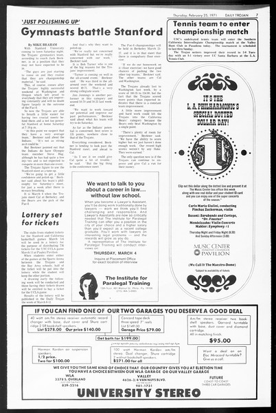 Daily Trojan, Vol. 62, No. 76, February 25, 1971