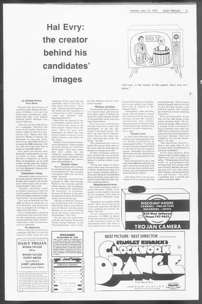 Daily Trojan, Vol. 64, No. 123, May 15, 1972