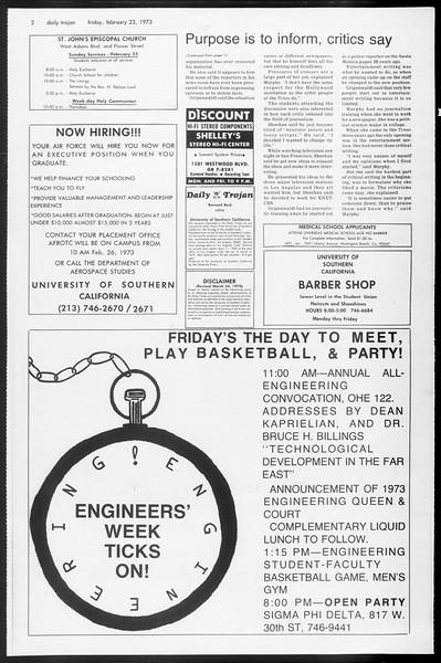 Daily Trojan, Vol. 65, No. 78, February 23, 1973