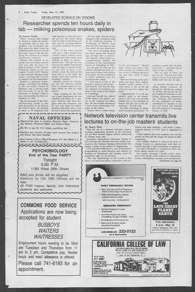 Daily Trojan, Vol. 88, No. 67, May 16, 1980