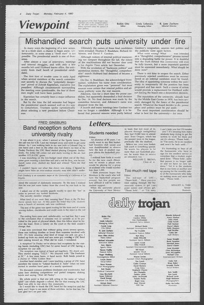 Daily Trojan, Vol. 88, No. 1, February 04, 1980