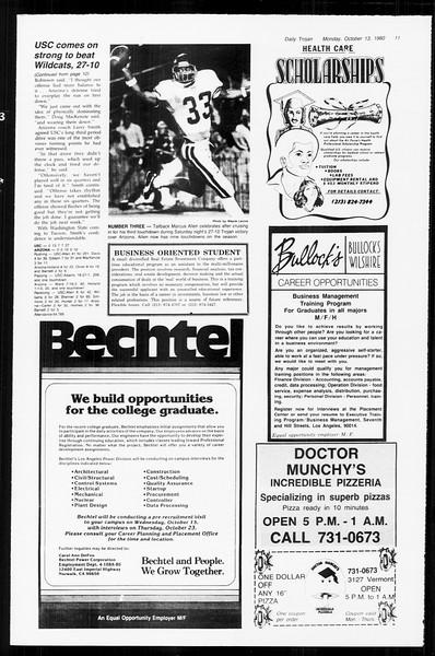 Daily Trojan, Vol. 89, No. 20, October 13, 1980