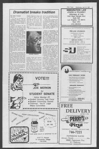 Daily Trojan, Vol. 88, No. 50, April 23, 1980