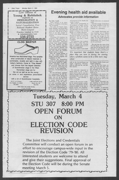 Daily Trojan, Vol. 88, No. 19, March 03, 1980