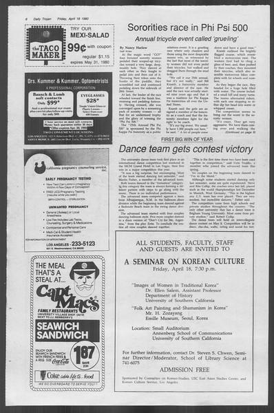Daily Trojan, Vol. 88, No. 47, April 18, 1980