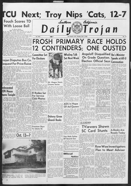 Daily Trojan, Vol. 46, No. 12, October 04, 1954