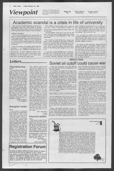 Daily Trojan, Vol. 88, No. 13, February 22, 1980