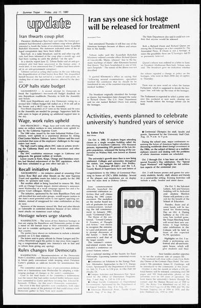 Summer Trojan, Vol. 89, No. 8, July 11, 1980