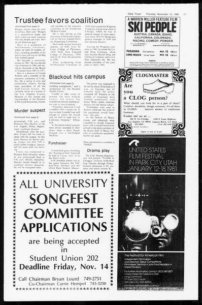 Daily Trojan, Vol. 89, No. 40, November 13, 1980