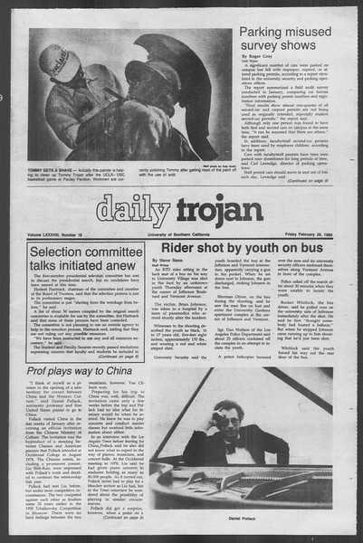Daily Trojan, Vol. 88, No. 18, February 29, 1980