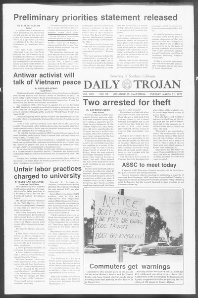 Daily Trojan, Vol. 64, No. 93, March 21, 1972