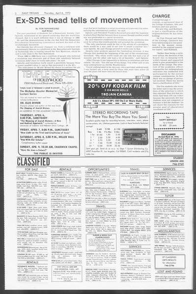 Daily Trojan, Vol. 64, No. 98, April 06, 1972