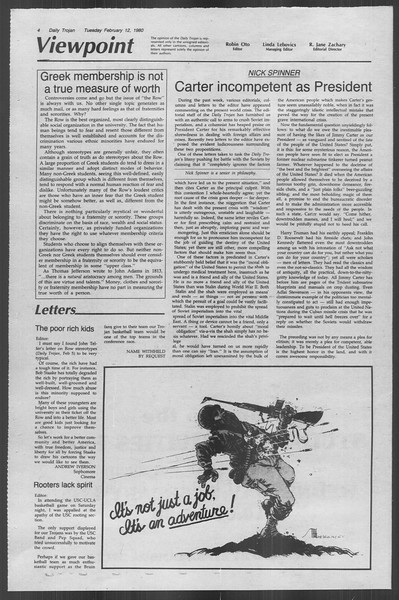 Daily Trojan, Vol. 88, No. 7, February 12, 1980