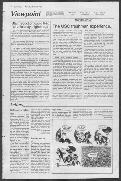 Daily Trojan, Vol. 88, No. 27, March 13, 1980