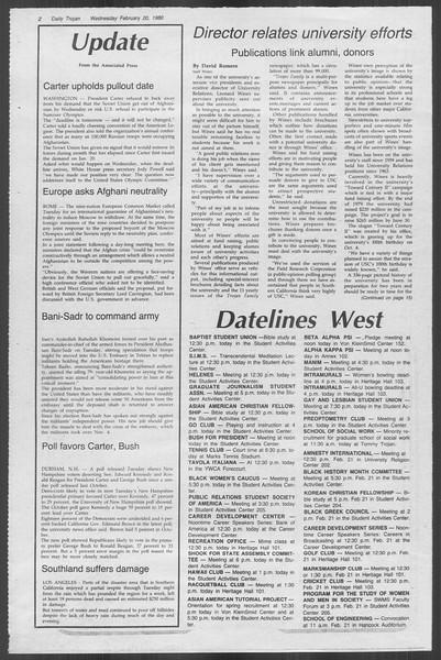 Daily Trojan, Vol. 88, No. 11, February 20, 1980