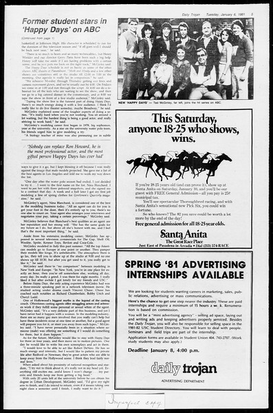 Daily Trojan, Vol. 89, No. 61, January 06, 1981