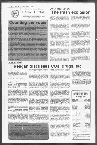 Daily Trojan, Vol. 64, No. 99, April 07, 1972